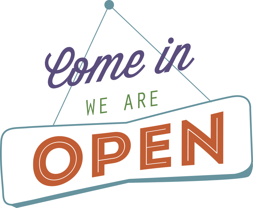 ILLUSTRATION: sign - come in we are open