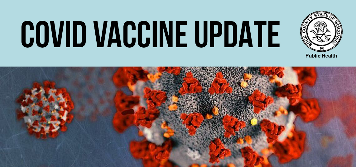 COVID virus with a banner reading COVID VACCINE UPDATE. Rock County Public Health seal.