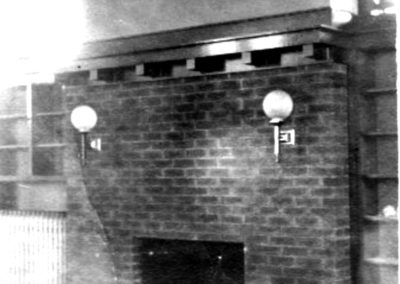 View of the original library fireplace