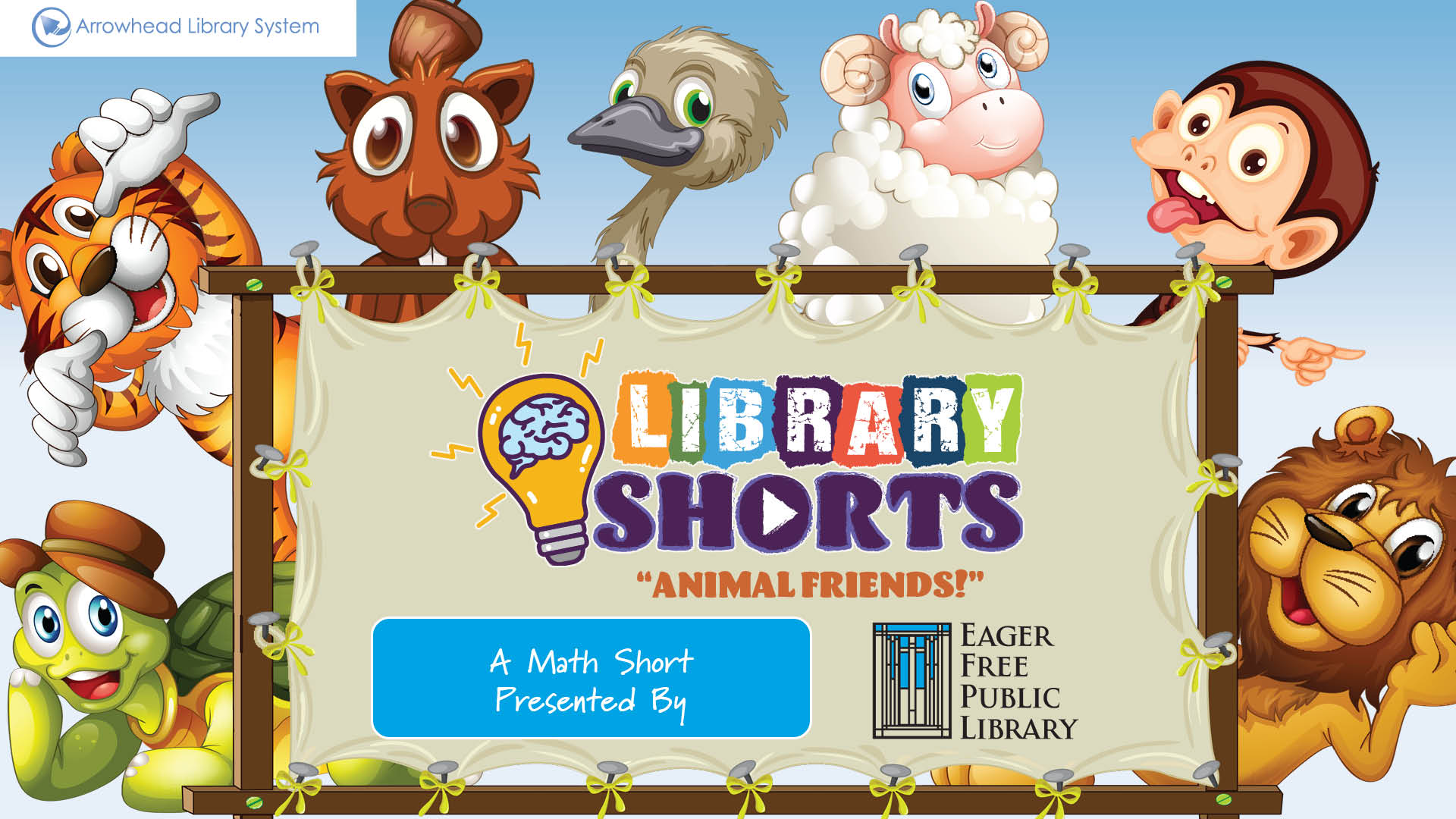Illustrated animals around a sign featuring the Library Shorts logo.