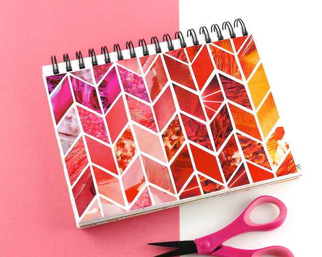 Spiral Notebook collaged with colorful magazine clippings