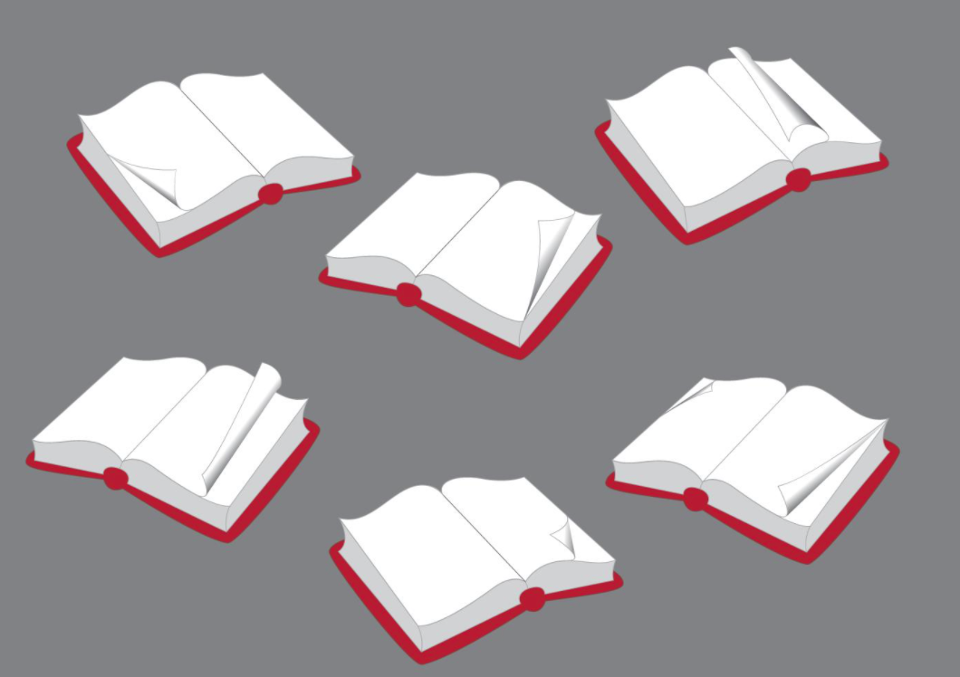 gray background. Illustrated books with red covers lying open on background