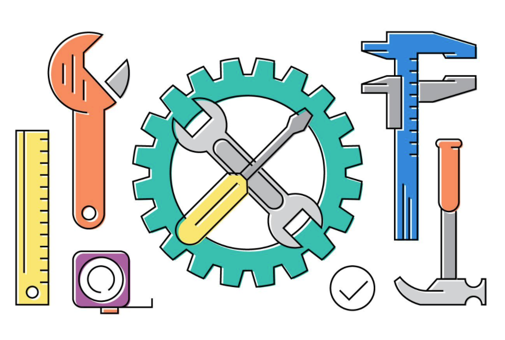 Illustrated hand tools and gears