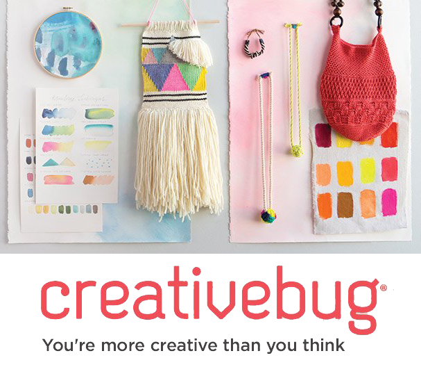 Samples of macramé, watercolor, embroidery, and crochet projects and the Creativebug logo