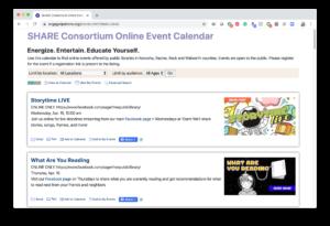 Screenshot: SHARE calendar
