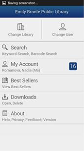 BookMyne App Screenshot of Main Menu
