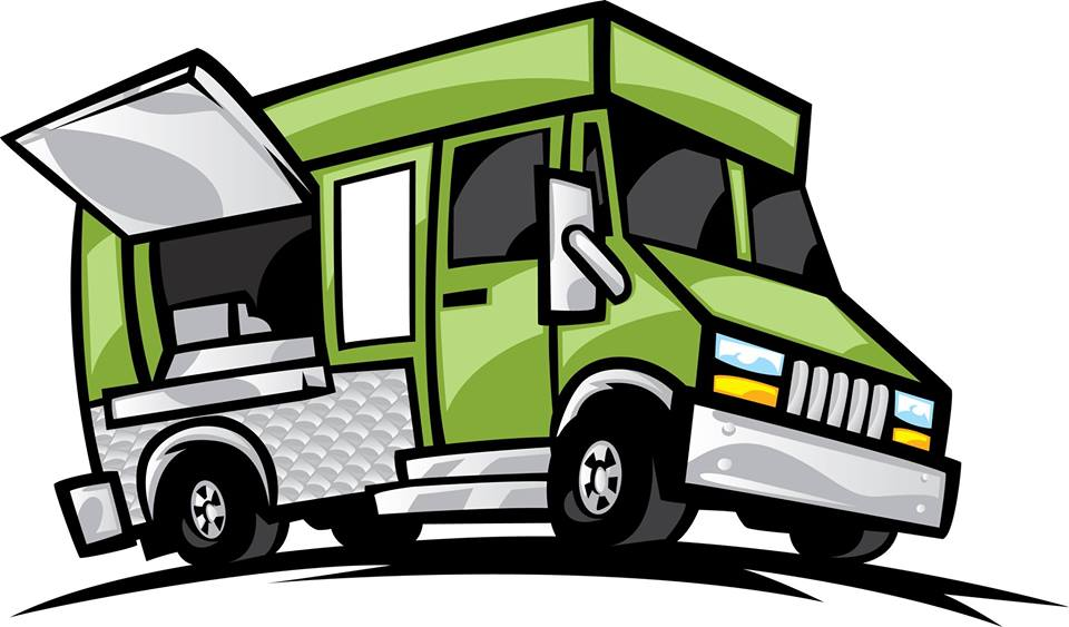 Food truck illustration with side window open for business