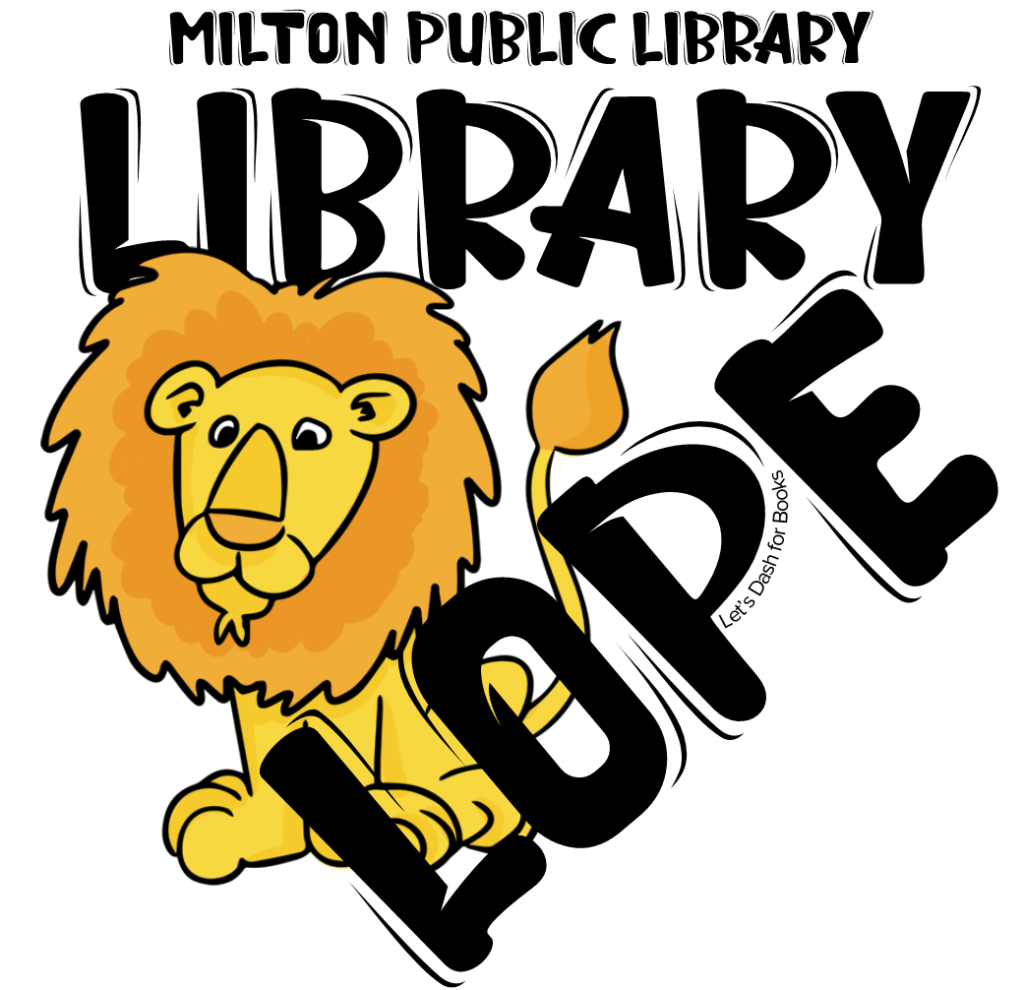 Library Lope image with illustrated lion friend - Let's Dash for Books