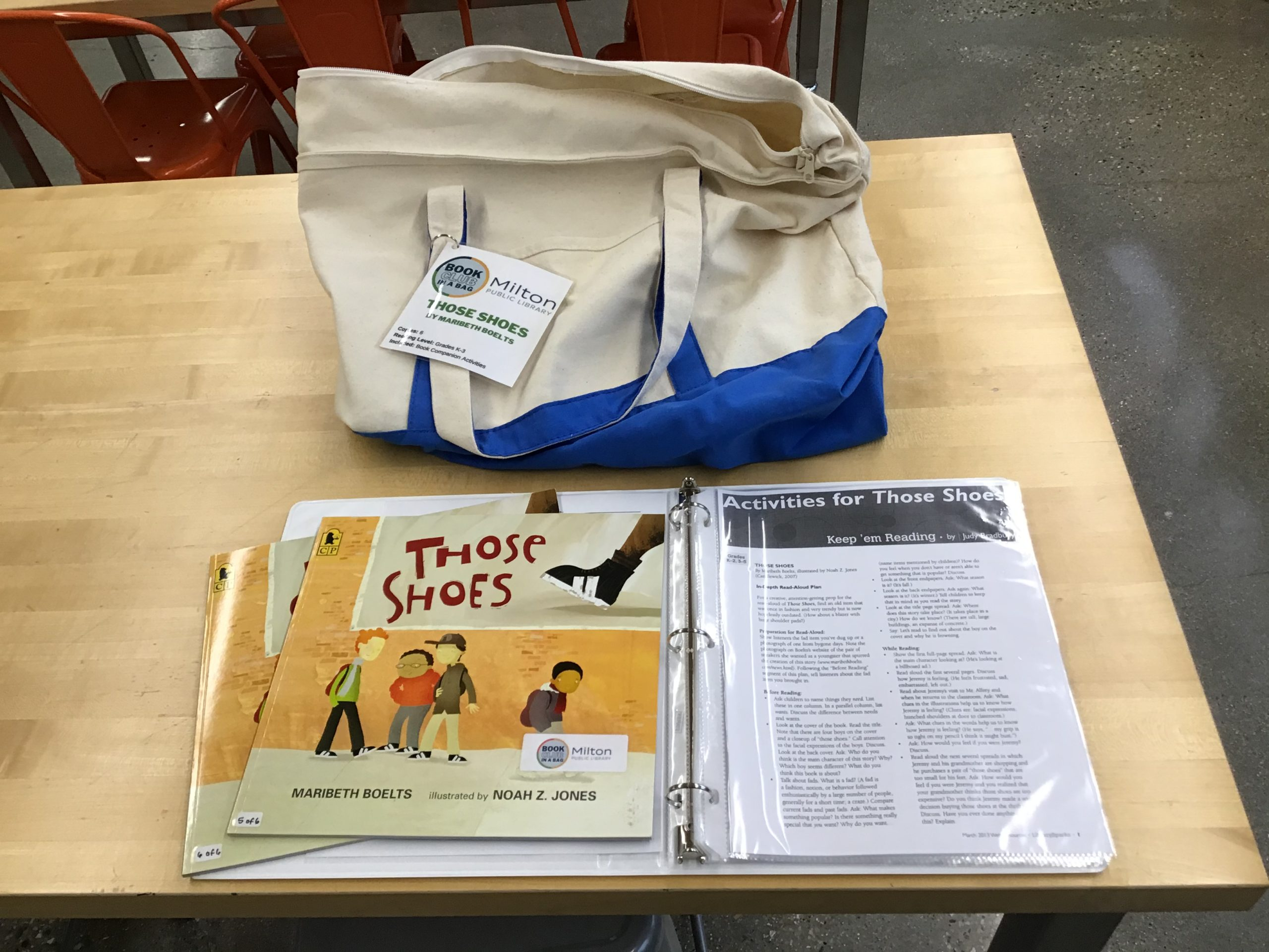 Canvas bag with two copies of Those Shoes displayed on the book club notes binder.