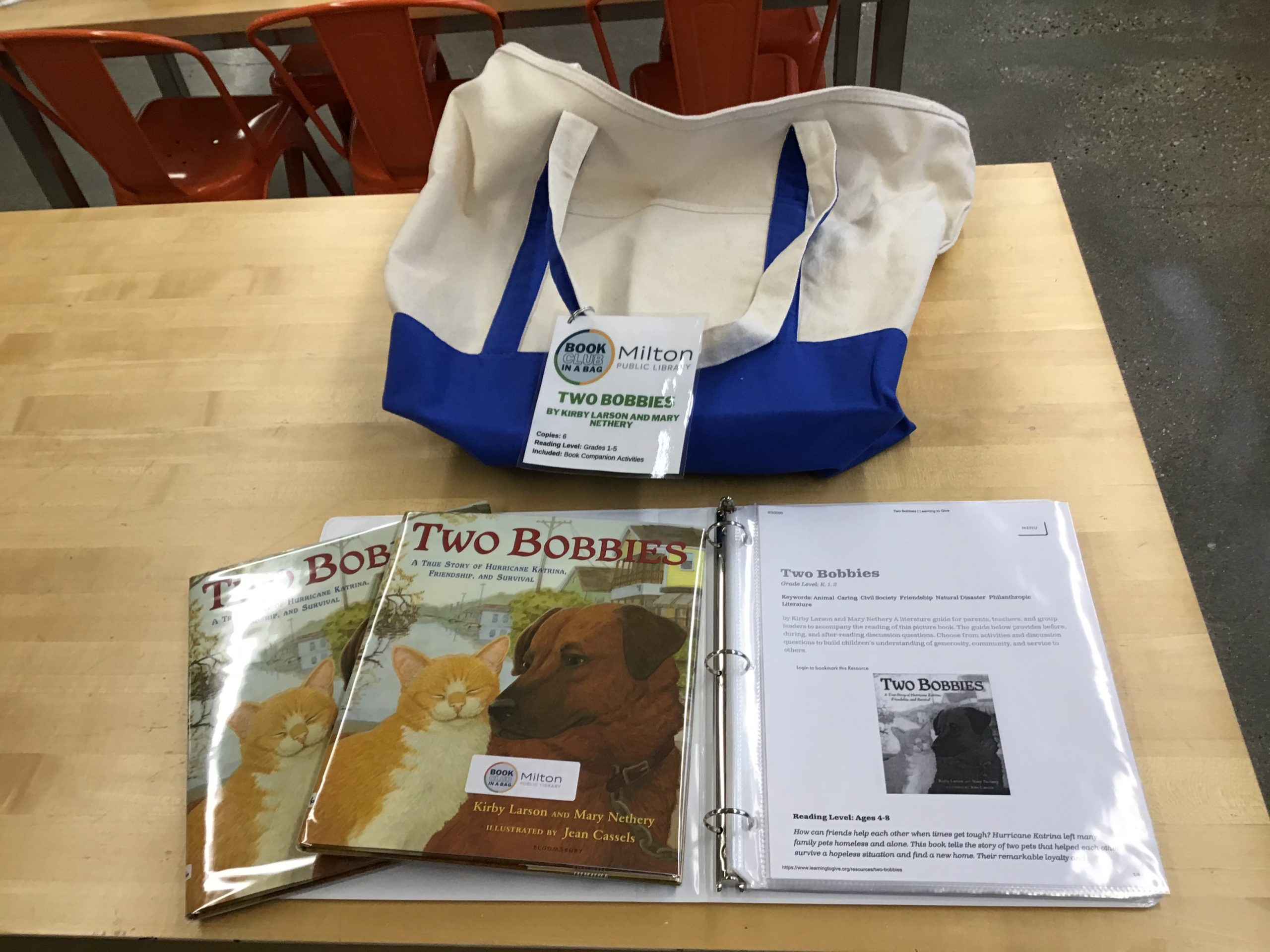 Canvas tote bag with two copies of Two Bobbies displayed over the book club companion binder.