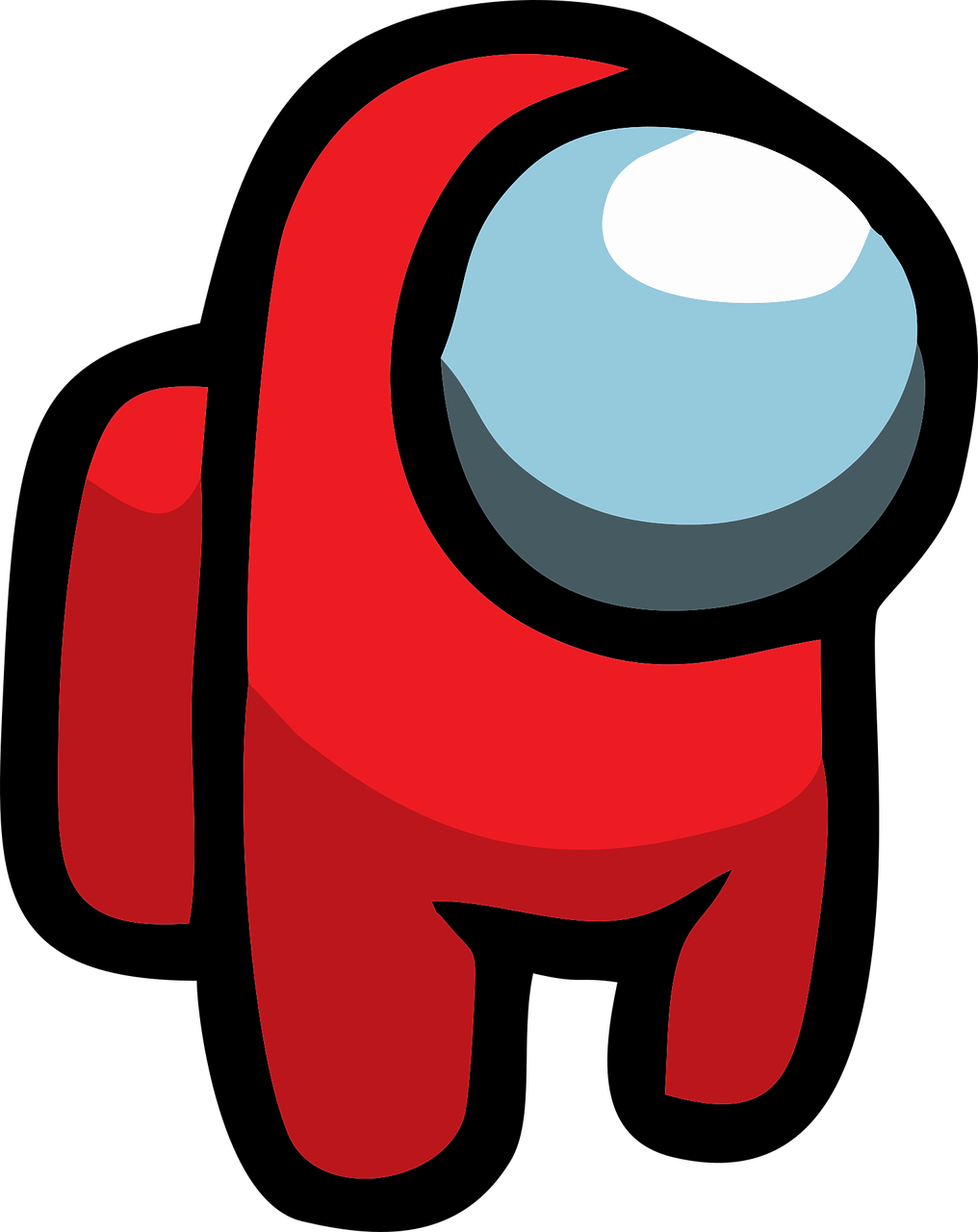 A red spaceman that has only two legs and not arms with a glass facemask and a red back pack. This is a typical Among Us game player.