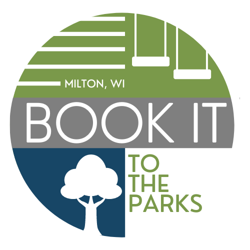 A circle logo with a green segment on tip with swings, and grey horizontal stripe in the middle and a blue lower left with an outline of a tree. The test reads Milton, WI Book It To The Parks