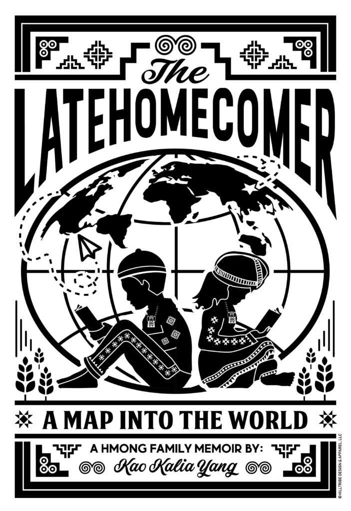 A black and white image of the book The Latehomecomer by: Kao Kalia Yang