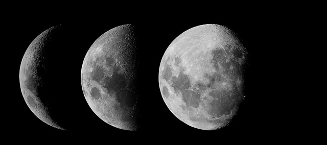 Three different photos of the moon during three different phases, crescent, half, and full