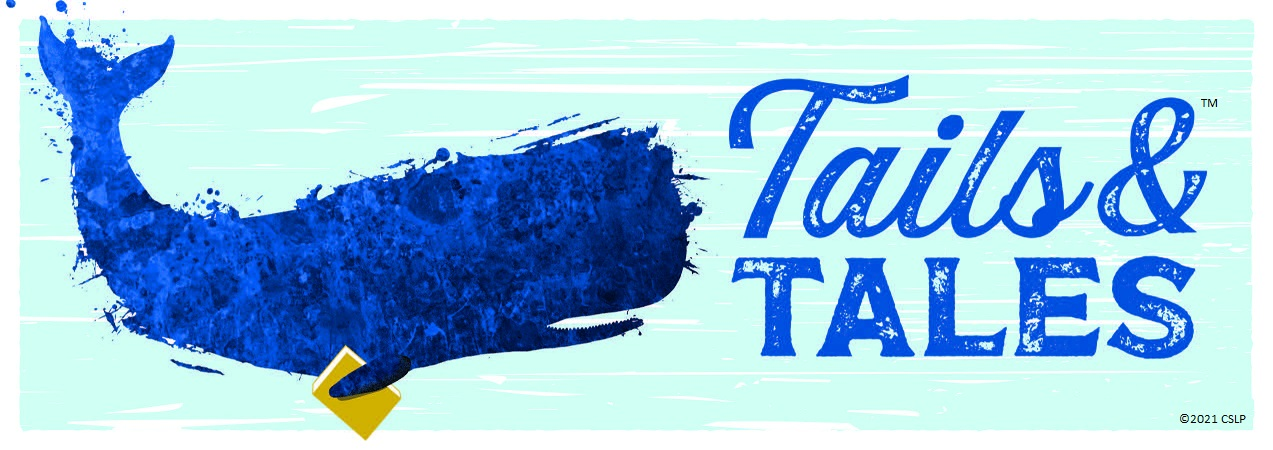 Blue splatter paint whale with the slogan Tails & Tales next it it in large blue letters