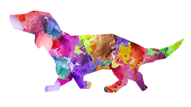Image of the shape of a dog filled in with various colors of spilled paint.