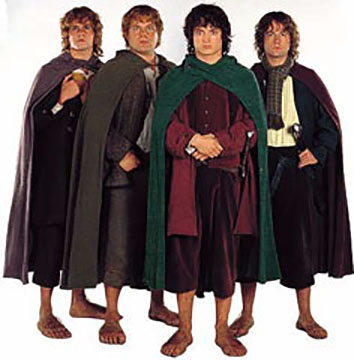 Frodo Baggins-Sam Gamgee-Merry Brandybuck-Pergrin 'Pippin' Took