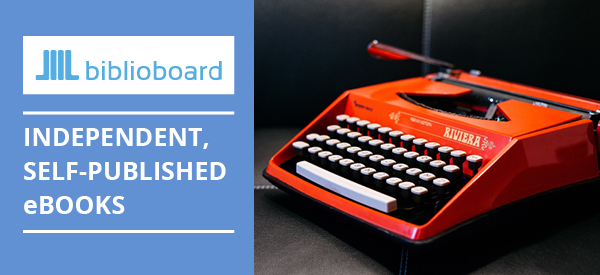 BiblioBoard Logo and photo of a red typewriter. Independent Self-published ebooks.