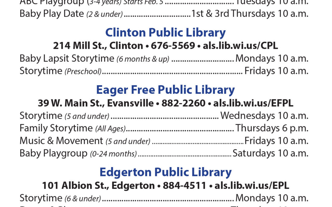 Winter 2019 Early Literacy Schedule