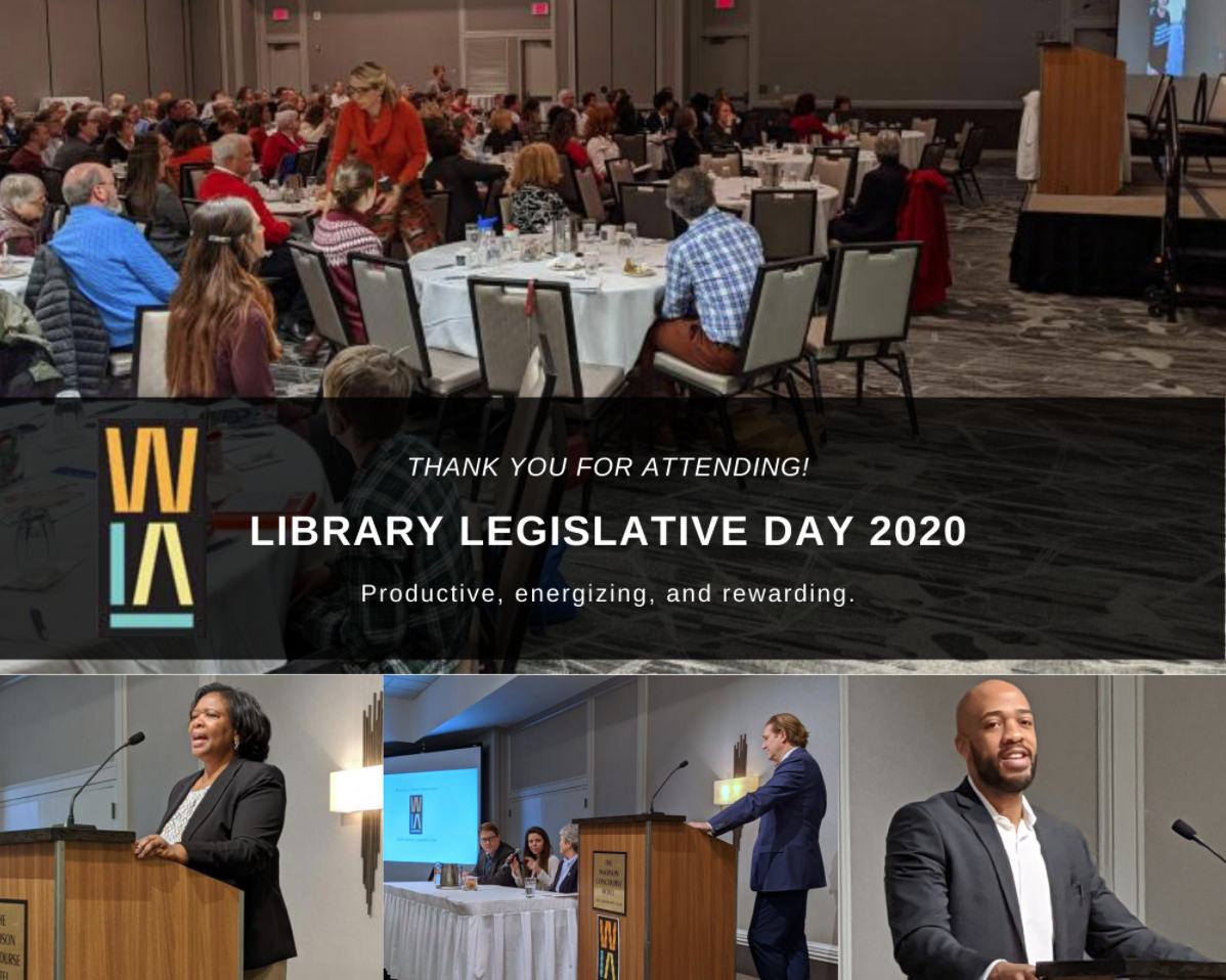 Attendees seated at tables during 2020 Library Legislative Day. Keynote speakers featured at podiums.