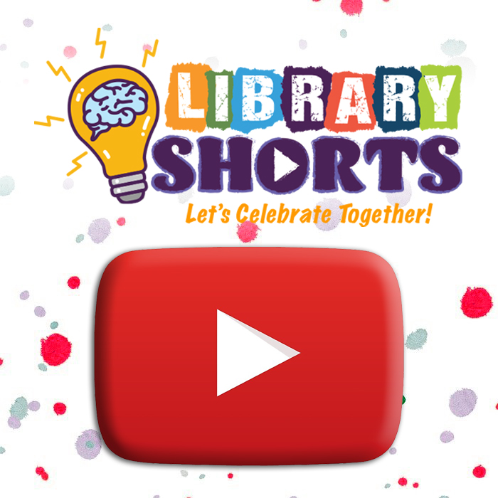 Confetti background behind a youtube play button and the library shorts logo.