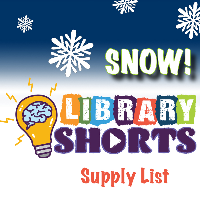 "Library Shorts logo and ""Supply LIst"" on top of a blue gradient with snowflakes."