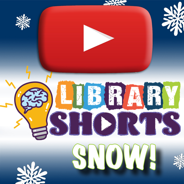 Library Shorts Logo, a play button, and the Word snow set a against a blue gradient with white snowflakes.