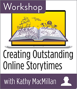 "Open book with pirate illustration floating above it. announcing a ""Creating Outstanding Online Storytimes"" workshop with Kathy Macmillan"