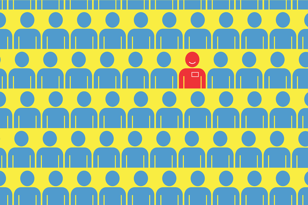 Rows of illustrated blue human figures on a yellow background. One figure is in red.
