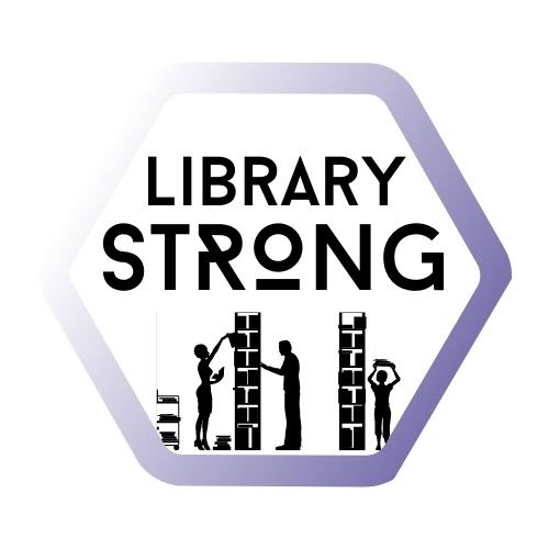 "WAPL Conference Logo: Library workers in stacks, the words ""Library Strong"""