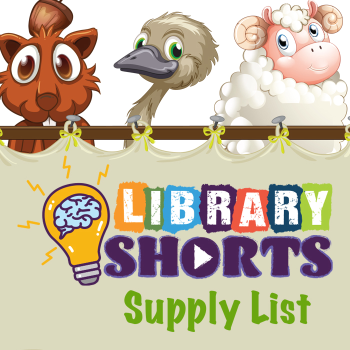 Library Shorts Logo, supply list header, and illustrated animals