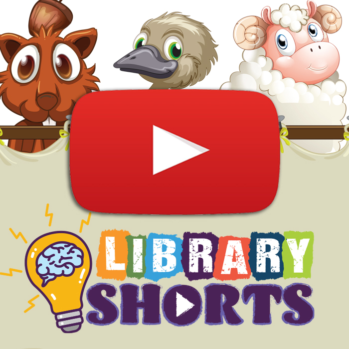 Library shorts logo with illustrated animals and a play button