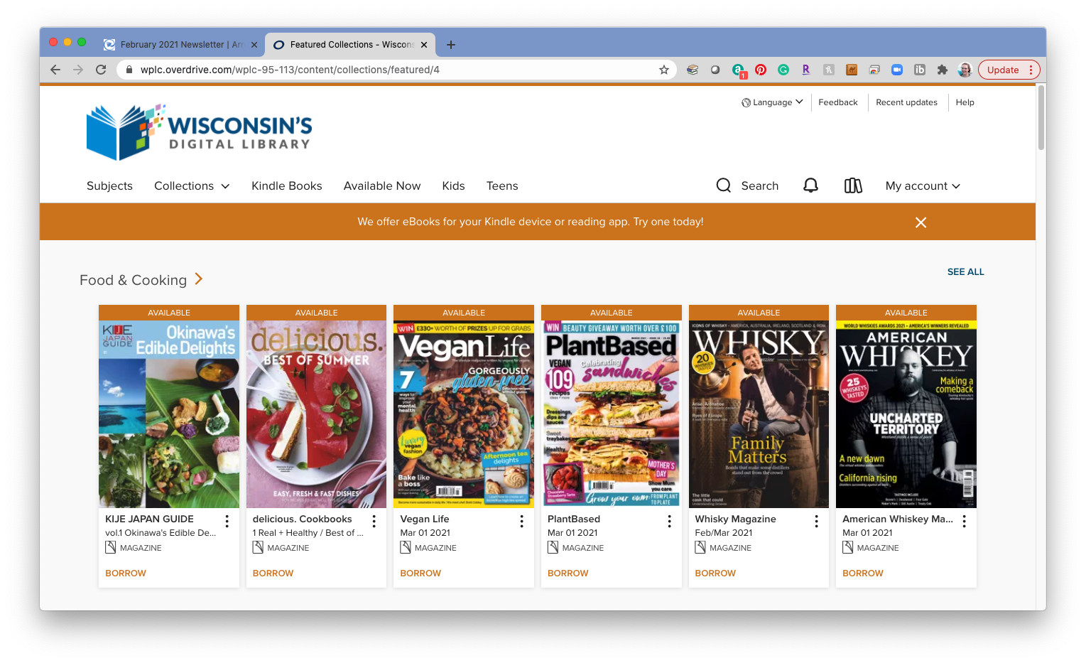 Screenshot of the WPLC OverDrive website, displaying a magazine carousel.