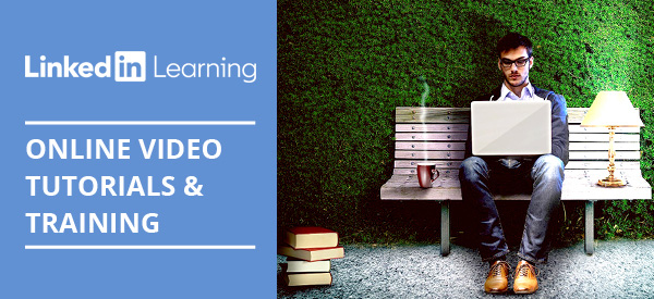 Man with a laptop, sitting on a park bench. LinkedIn Learning logo: Online video tutorials and training