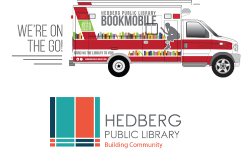 Illustration of the Hedberg Public Library Book Mobile.