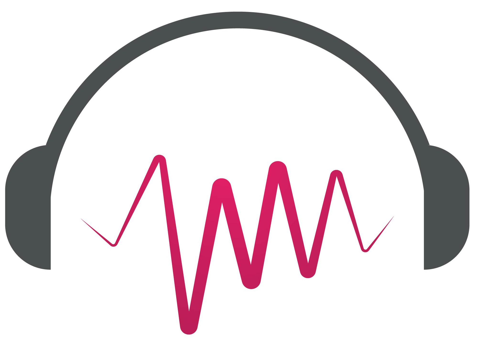 Illustrated headphones with sound wave