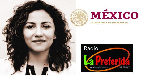 Image of Consulate counsel, Mexican Consulate logo, and La Preferida de Beloit radio station logo